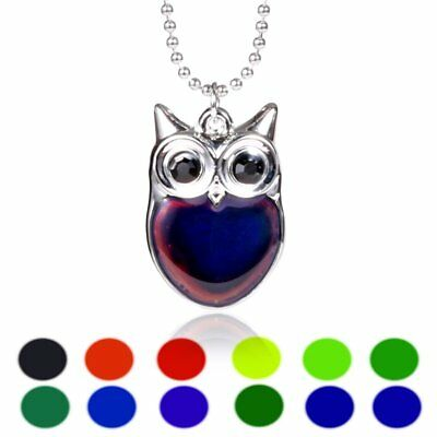 Fashion Women's Mood Jewelry Lovely Change Color Owl Pendant Charm Necklace Gift