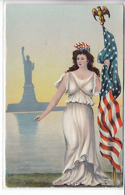 Lady Liberty Holding American Flag Statue of Liberty Patriotic Postcard 1907-15
