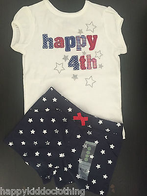 Carters Outfit Happy 4th July Size 4 4t NEW Shirt Shorts 2800 Patriotic