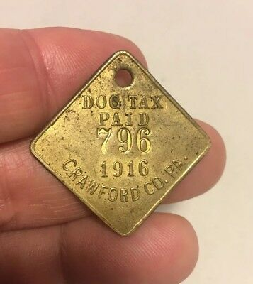 Antique 1916 Brass Dog License Tax Tag Crawford County Pennsylvania PA Free Ship