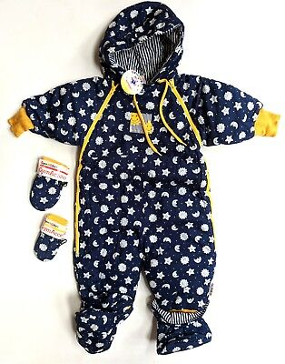 7264abf0d Gymboree Vintage NWT NB/INF Navy Moon/Stars Padded Snowsuit Mittens Lot CC1-