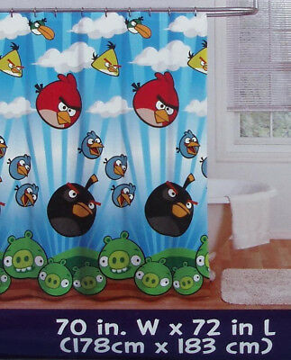 Rovio Angry Birds Blue Fabric Bath Shower Curtain New