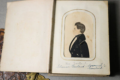 c.1836 AMERICAN FOLK ART PORTRAITS w GARLAND FAMILY CDV PHOTO ALBUM SALISBURY MA