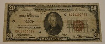 1929 $20 Twenty Dollar NATIONAL CURRENCY Bank Note Brown Seal CHICAGO Illinois