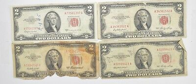 Lot (4) Red Seal $2.00 US 1953 or 1963 Notes - Currency Collection *453