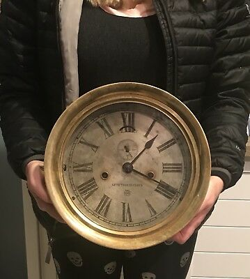 Antique LARGE 10 Inch Brass Seth Thomas US Guage Co. Steam Ships Clock WORKS
