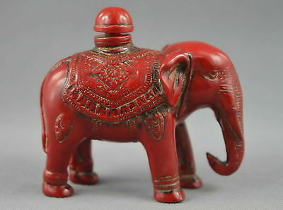 Collectible Chinese Red Coral Hand Carved Elephant Snuff Bottle