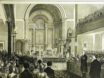 A.T. Stewart Funeral ST. MARKS CHURCH STUYVESANT PLACE & 2nd NYC 1876 Art Matted