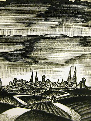 Lynd Ward 1930 A MAN & WOMAN WALKING TOWARD the VILLAGE Art Deco Print Matted