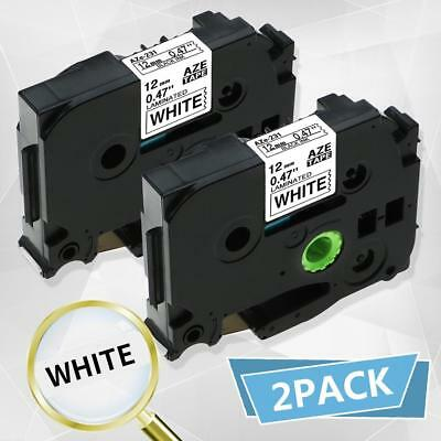 Compatible for Brother TZe-231 Label Tape 12mm Black on White Cartridge 8m 2PK