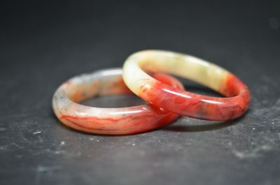 A pair Excellent Chinese natural jade Carved beautiful bracelet  a49