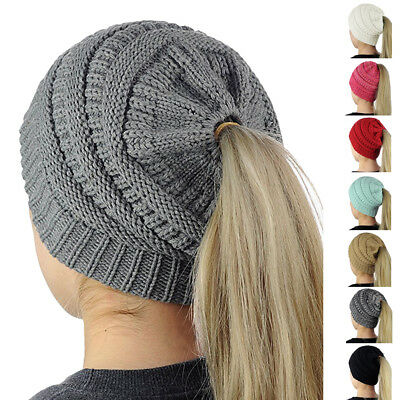 Womens Messy High Bun Ponytail Holder Stretchy Knit Beanie Winter Warm Hat Cap