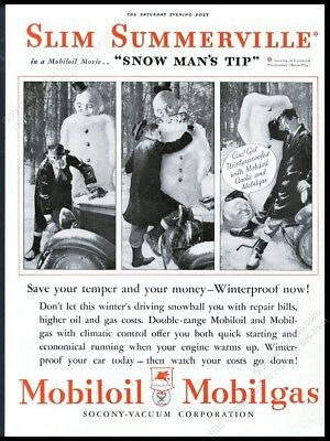 1933 Slim Summerville snowman photo Mobil Oil gas vintage print ad