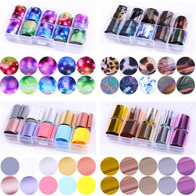 10 Rolls/Box Starry Sky Nail Foils Holographic Glitter Candy Nail Art Decals