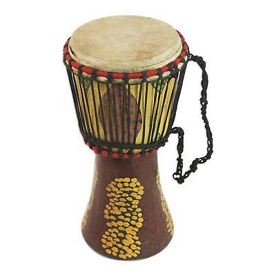 Djembe Drum Handcrafted Painted Wood 'Groundnut Shells' Small NOVICA West Africa
