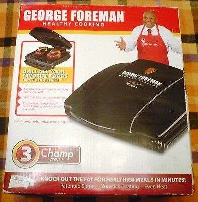 George Foreman Healthy Cooking Champ Grill Nib! New! Look!