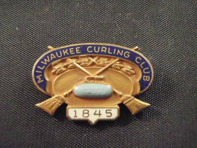 Antique Vintage Brass 1845 Milwaukee Curling Club Pin Turquoise Stone Enamel Usa