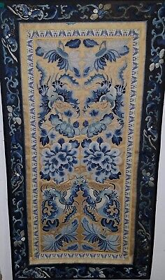 Antique Chinese Silk Embroidery Forbidden Stitch Panel robe Sleeves rank badge