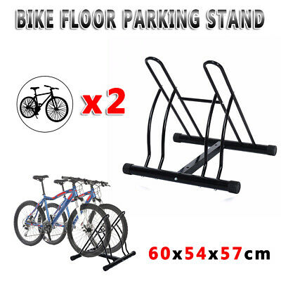 2 Bike Floor Parking Rack Instant Storage Stand Bicycle Cycling  Black Portable