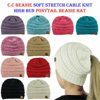 Marled Ribbed CC Beanie Women Knit Slouchy Thick Baggy Cap Warm Winter Soft Hat