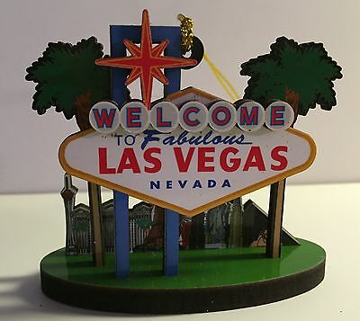 Las Vegas Welcome Sign Strip Hotels Christmas Tree Ornament Holiday Palm Tree