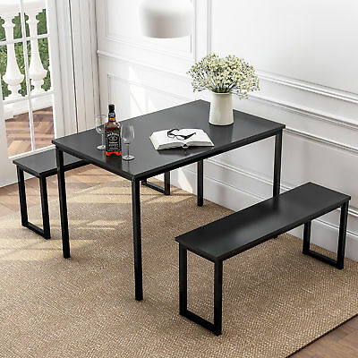 3 Piece Modern Dining Sets, Kitchen Dining Room Table w/2 Benches Metal frame