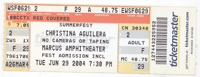 Rare CHRISTINA AGUILERA 6/29/04 Milwaukee WI Marcus Amphitheater Concert Ticket!