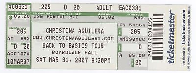 Rare CHRISTINE AGUILERA 3/31/07 Atlantic City NJ Boardwalk Hall Concert Ticket!