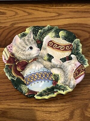 """~Fitz and Floyd~ *KRISTMAS KITTY* 9"""" Christmas Kitten Cat Canape Plate"""