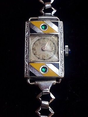 Vtg Art Deco Henex Swiss Enamel Watch