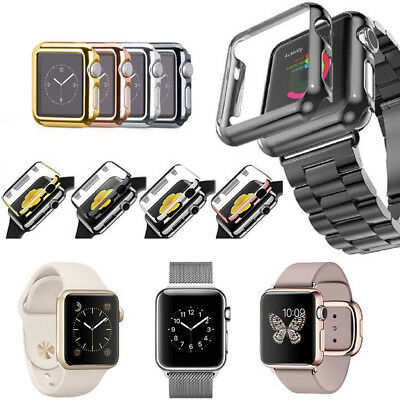 For Apple Watch Series 3/2/1 Full Cover Snap-on Case Built-in Screen Protector``