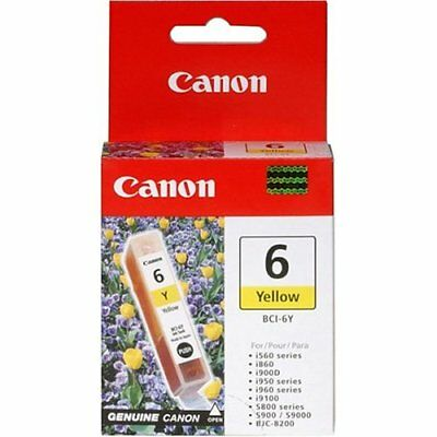 Lot of 2 Canon BCI-6Y Yellow Ink Tanks GENUINE NEW