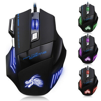 5500DPI LED Optical USB Wired Gaming Mouse 7 Buttons Gamer Laptop PC Mice US