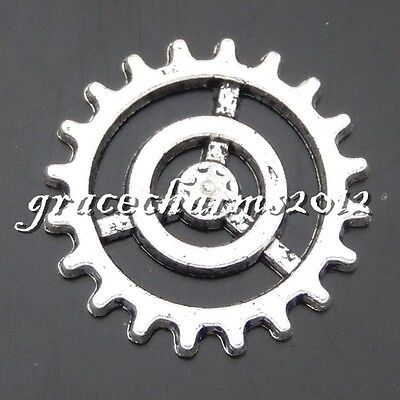 38x Vintage Silver Alloy Hollow Gear Wheel Pendants Findings Charms Crafts 50480