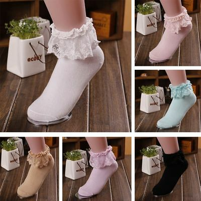 Princess Girl Sweet Women Ladies Vintage Lace Ruffle Frilly Ankle Short Socks