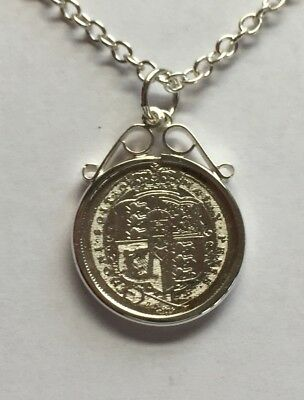 Single George III Sixpence Coin 1820 Necklace 925 Silver Chain NEW in Mount