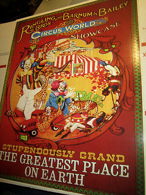 Vintage Ringling Brothers & Barnum Bailey Circus World Showcase Poster Vgc