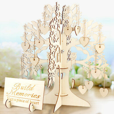 Wedding Guest Sign Book Personalised Wooden Tree Signs Hearts Pendant Ornaments