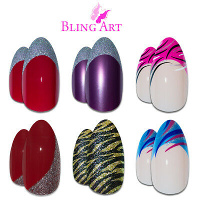 Bling Art Almond False Nails Purple Blue Pink Gold Red Black Glitter Fake Medium