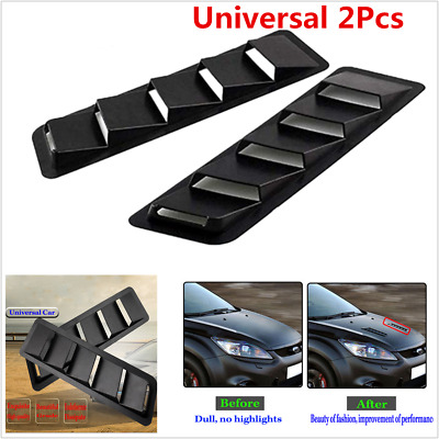 UNIVERSAL BLACK ABS Plastic Car Hood Air Vent Louver Cooling Panel Trim  Moulding