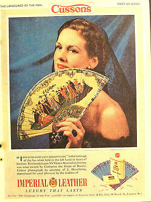 1950s advert for CUSSONS Imperial Leather Louis XV fan advertisement 1954 #