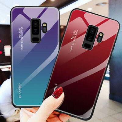 Gradient Tempered GLASS Back Case Cover For Samsung J8 J6 J4 A6 A8 Plus A7 2018