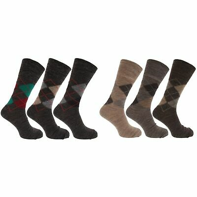 Mens Traditional Argyle Pattern Non Elastic Lambs Wool Blend Socks (MB276)