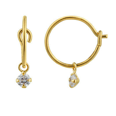 Gold Plated Sterling Silver & Colour Crystal Ball Hoop Earrings