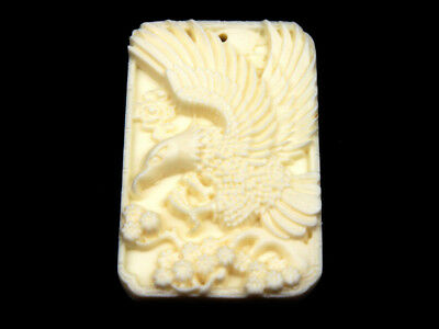 Solid Bone Detailed Hand Carved Pendant Flying Eagle Wings Open #12111803