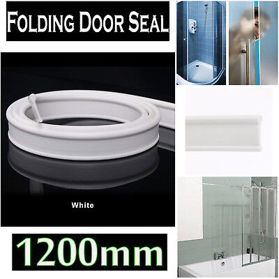 Soft Rubber Shower Door Seal for Folding Bath Screen 1200mm White Easy Install