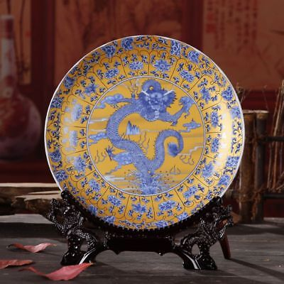 Delicate Blue And White Pastels Porcelain Dragon Plate Collection