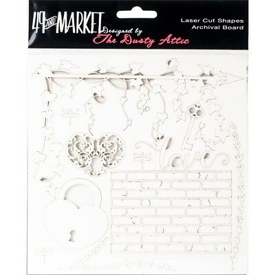 """49 And Market Archival Chipboard 6""""x6""""-love White"""
