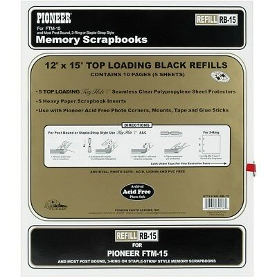 """Pioneer Universal Top-loading Page Protectors 5/pkg-12""""x15"""" (w/black Inserts)"""