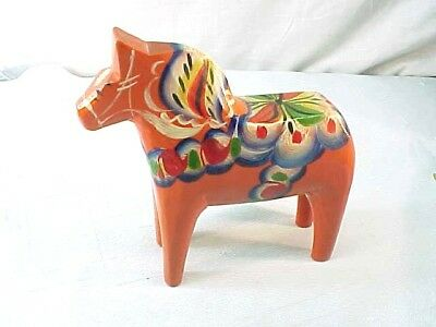 "Fabulous Vintage Nils Olsson Swedish Wooden Dala Horse 6"" Orange"